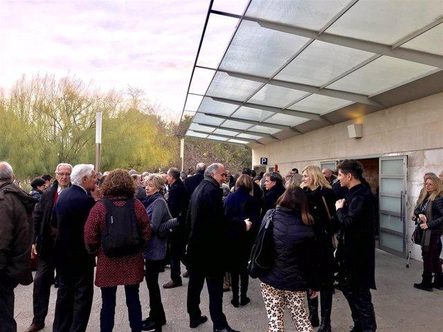 Funeral de Joan Guinjoan en el Tanatori de Les Corts de Barcelona