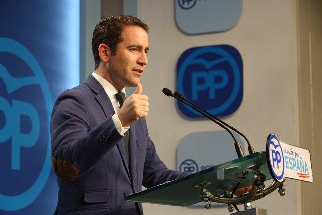 Roda de premsa del secretari general del PP, Teodoro García Egea, en la calmi d