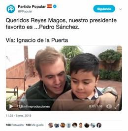Missatge difós pel compte oficial del Partit Popular en Twitter