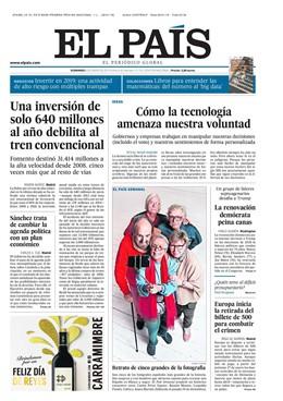 Portada de EL PAÍS del domingo 6 de enero