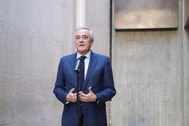 Javier Sada este domingo en las Cortes de Aragón.