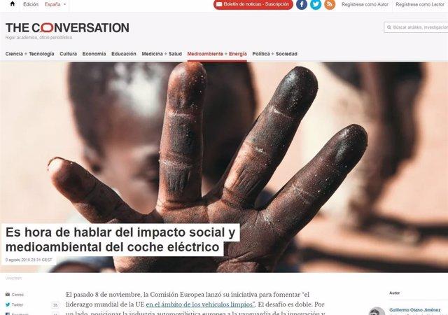 Una imagen de la portada de 'The Conversation-España'