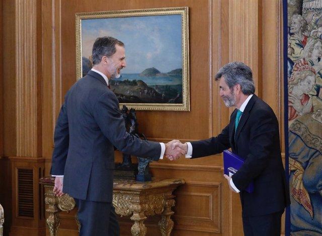 El Rey se reúne con el presidente del Tribunal Supremo y del CGPJ, Carlos Lesmes