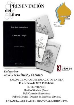 """Cartel de la presentación del libro """"Líneas de tiempo"""" de Jesús M.Gómez y Flores"""