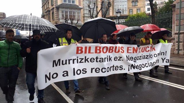 Movilización de los trabajadores de Bilbobus
