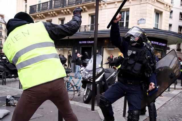 Disturbios durante la manifestación de los 'chalecos amarillos'