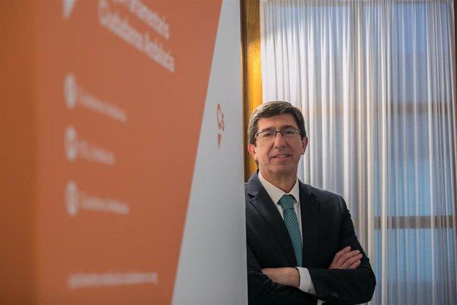 El líder andaluz de Cs, Juan Marín, durante la entrevista con Europa Press.