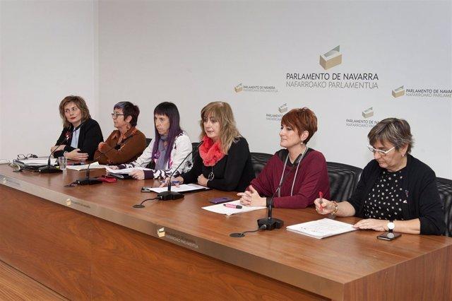 Alemán, Sáez, Leránoz, Ollo, Ruiz y De Simón en la rueda de prensa