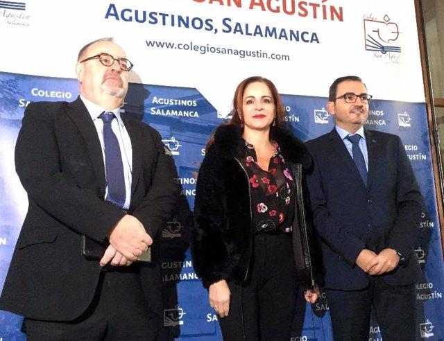 Rey, Clemente y el director del Colegio San Agustín de Salamanca