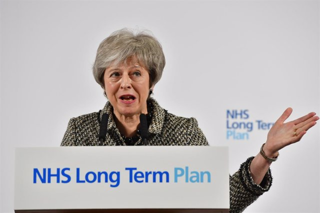 Theresa May en un acto este lunes sobre el sistema de salud británico
