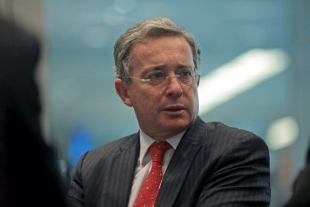 Alvaro Uribe, former president of Colombia, speaks during an interview in New Yo