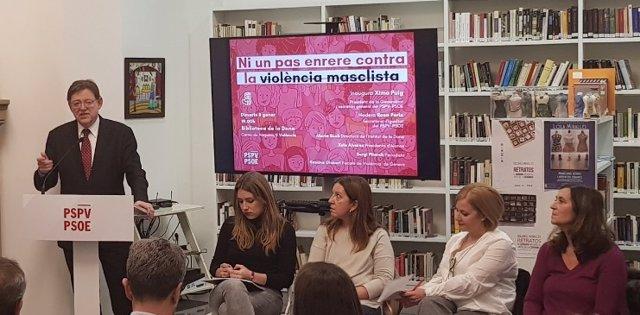 Ximo Puig en el acto  'Ni un paso atrás contra la violencia machista'