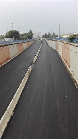 Obras en el puente del Odiel en Huelva.