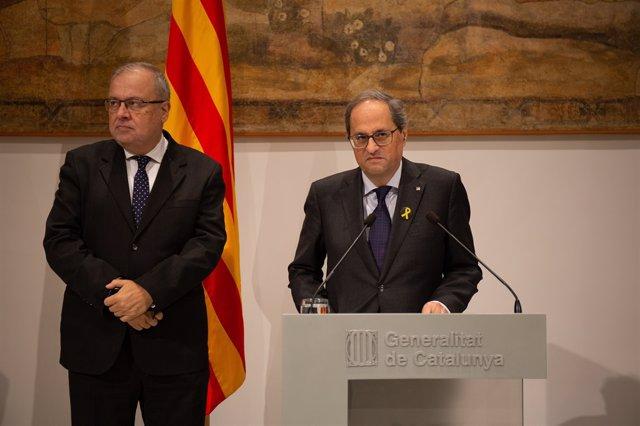 El matemtic Manel Sanrom i el president de la Generalitat, Quim Torra