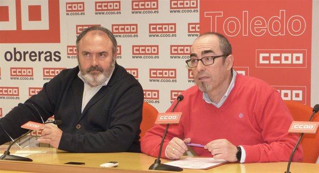 Los secretarios regionales de CCOO, Paco de la Rosa, y UGT, Carlos Pedrosa