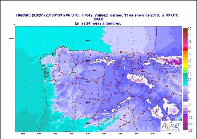 Mapa descriptivo sobre la previsión de temperaturas para el jueves