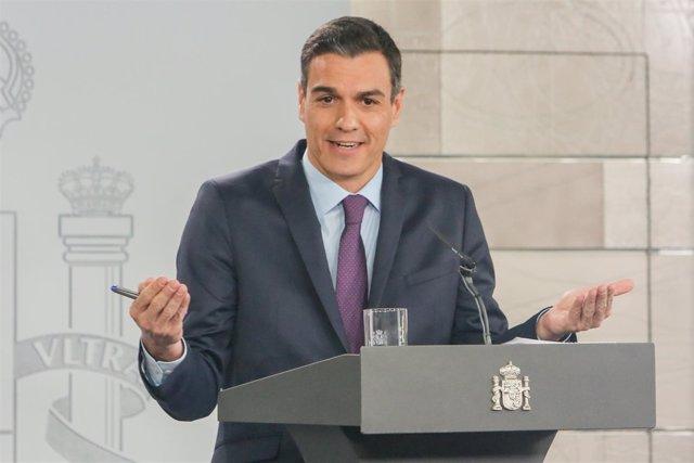 Pedro Sánchez en una foto de archivo, haciendo balance de su gestión