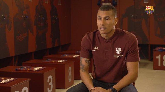 El jugador del FC Barcelona Jeison Murillo en una entrevista