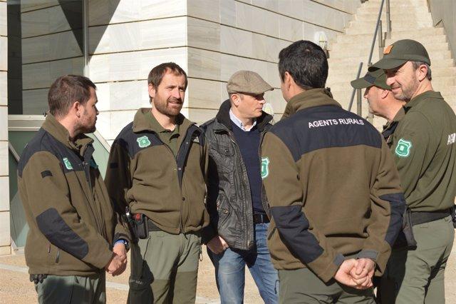 Un grup d'agents rurals aquest dimecres en l'Audincia de Lleida