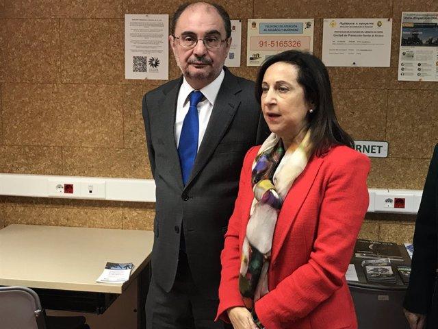 Lambán y la ministra de Defensa, Margarita Robles