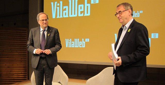 El presidente Quim Torra y el periodista de Vilaweb Vicent Partal