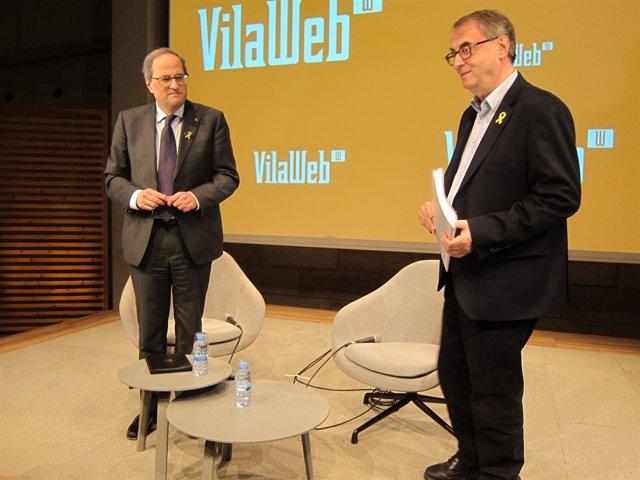 El president Quim Torra i el periodista de Vilaweb Vicent Partal