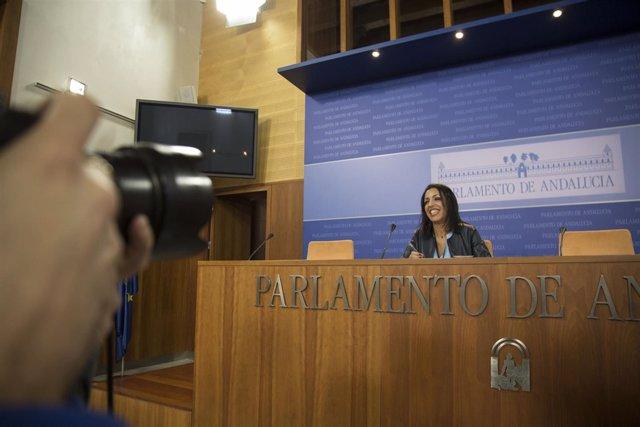 Rueda de prensa de la presidenta, Marta Bosquet, en el Parlamento de Andalucía
