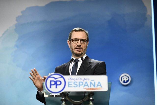 Declaraciones del vicesecretario de Organización del PP, Javier Maroto, tras la
