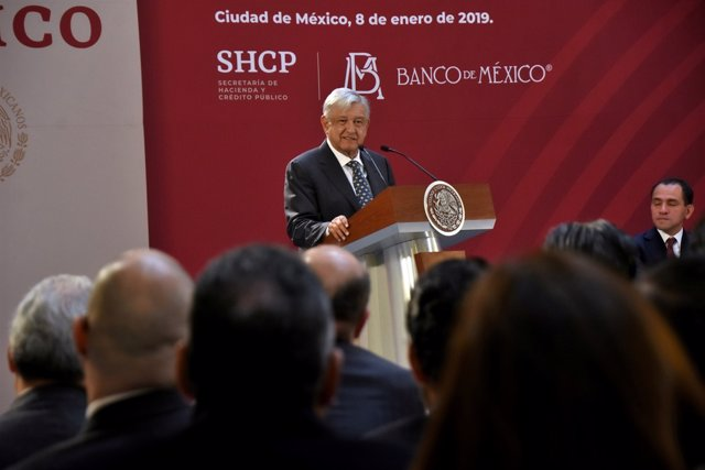 Mexico's President Andres Manuel Lopez Obrador addresses the audience during a g