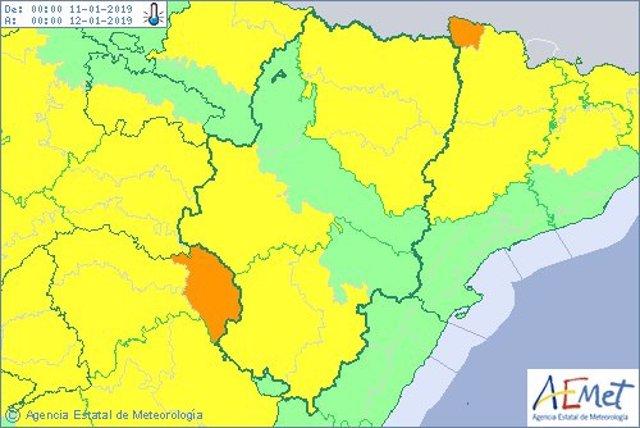 Aviso amarillo por temperaturas mínimas en varias zonas de Aragón