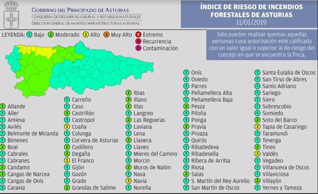 Mapa de índice de riesgo de incendios.