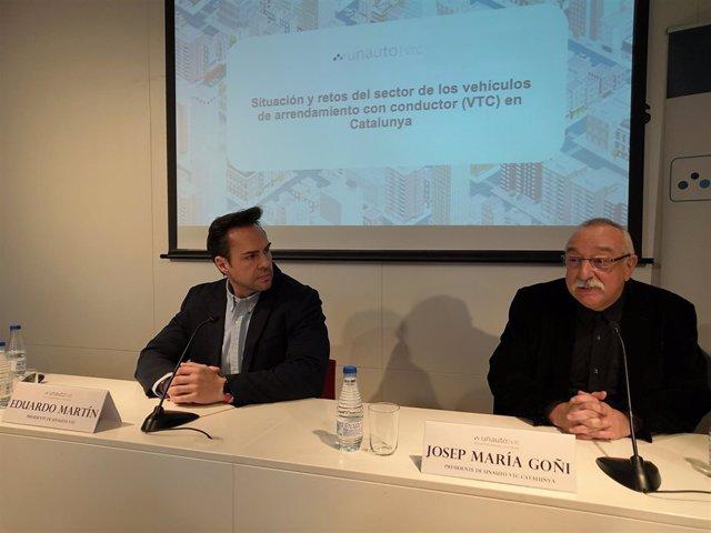 El president d'Unauto VTC, Eduardo Martín, i d'Unauto VTC Catalunya, J.M.Goñi