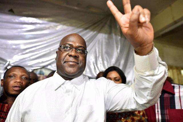 Felix Tshisekedi celebra su victoria ante sus partidarios