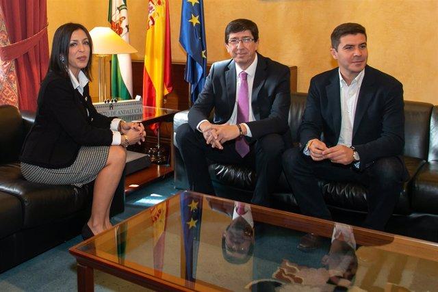 Marta Bosquet se reúne con Juan Marín y Sergio Romero, de Cs