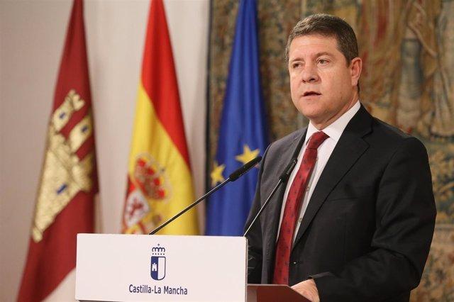 Page en un encuentro con medios en el Palacio de Fuensalida