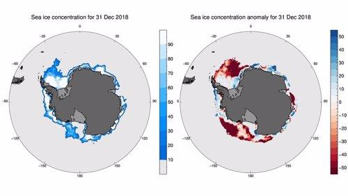 Concentración de hielo marino en la Antártida y anomalía en la misma