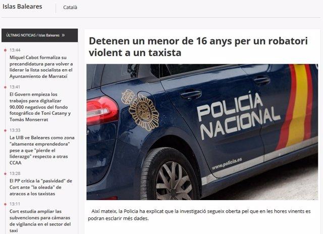 Portada de l'edició en català d'Europa Press Balears