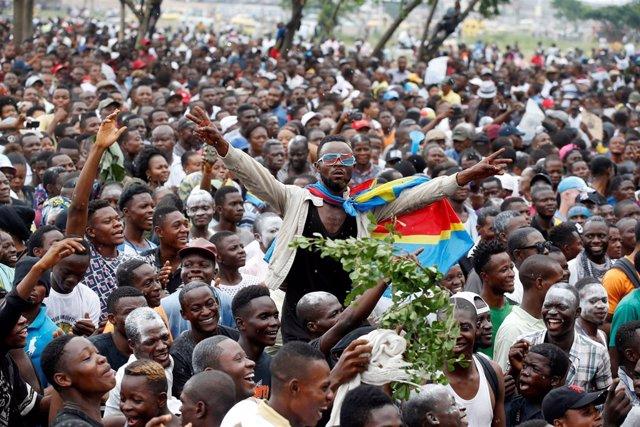 Partidarios de Félix Tshisekedi celebran su victoria en Kinshasa