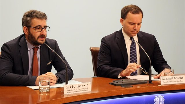 Eric Jover (ministro Andorra) Michael Christner (consejero delegado Vall Banc)