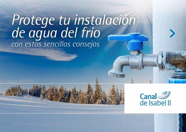 Guía del Canal Isabel II para que heladas no rompan las instalaciones de agua