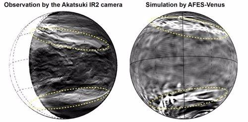 Observación y simulación anterior del patrón de nubes en Venus