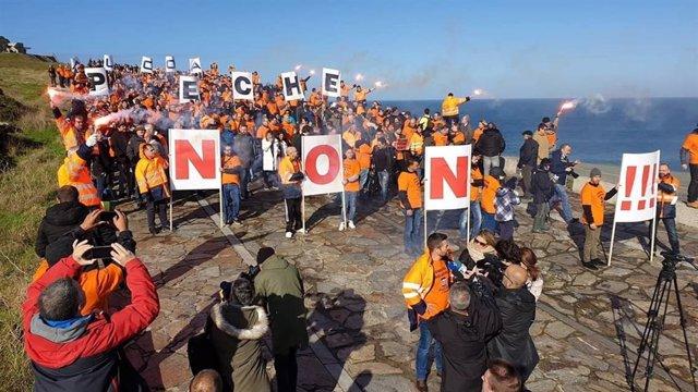 Protesta de traballadores de Alcoa este sábado na Coruña
