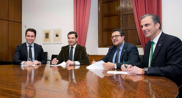 Teodoro García, Juanma Moreno, Francisco Serrano y Javier Ortega Smith