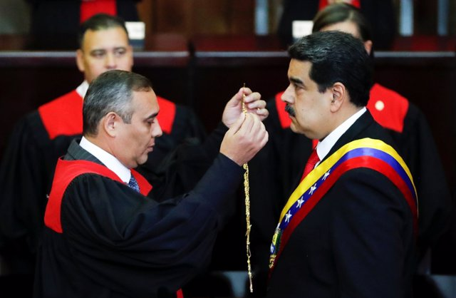 Venezuela's President Nicolas Maduro is sworn in by Venezuela's Supreme Court Pr