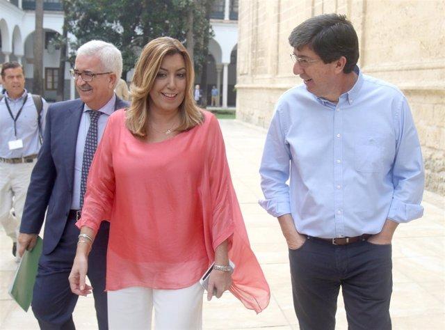 Manuel Jiménez Barrios, Susana Díaz y Juan Marín en el Parlamento