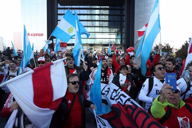 Soccer Football - River Plate fans ahead of the Copa Libertadores match between