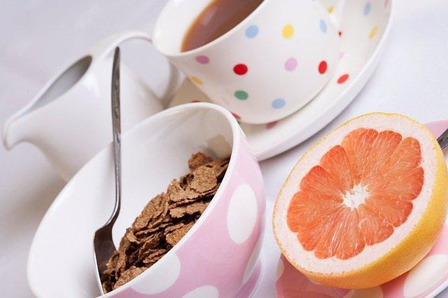 Desayuno, pomelo, café, cereales, fibra