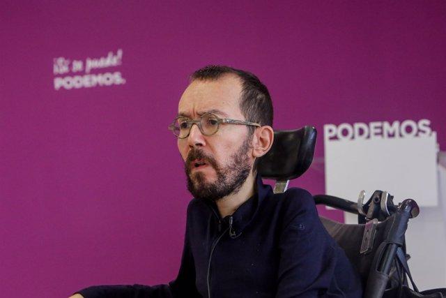 Entrevista d'Europa Press al secretari d'Organització de Podem, Pablo Echenique.