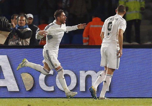 Sergio Ramos celebra el gol en la final del Mundial de Clubes