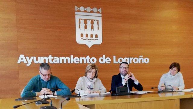 Saéz Rojo, Corres, Merino y Montes, en la rueda de prensa